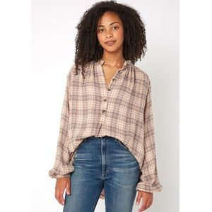 NEW Free People Northern Bound Plaid Shirt